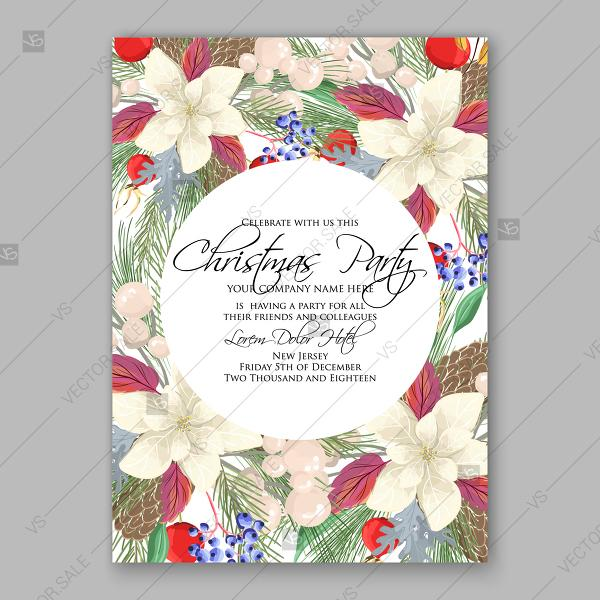 Wedding - Merry Christmas Party Invitation wreath white poinsettia fir red briar berry pine cone printable template greeting card