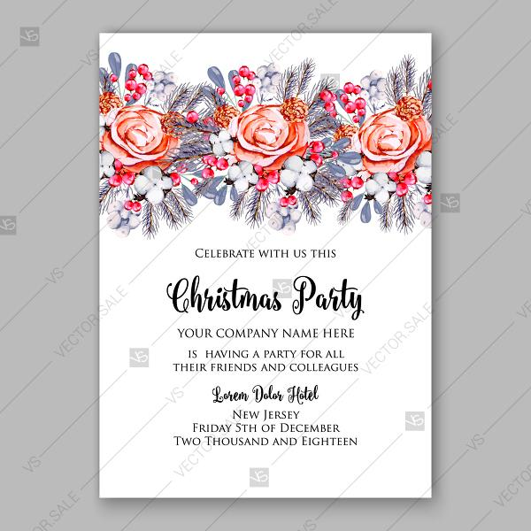 Wedding - Watercolor floral Christmas Party Invitation wreath Cotton flower red berry fir floral wreath