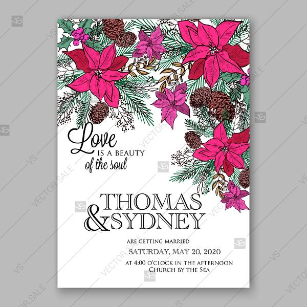 Winter Floral Wedding Invitation Red Poinsettia Fir Pine Cone Holly