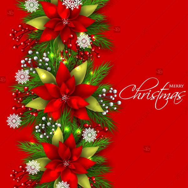 Christmas Card Background.Poinsettia Fir Pine Snowflake Winter Floral Background