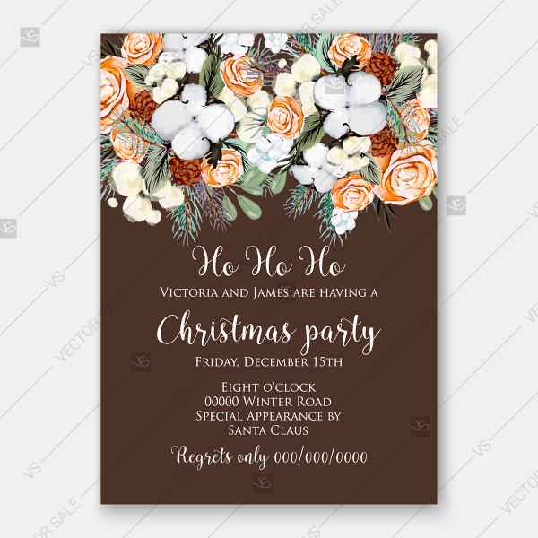 Свадьба - Cotton cranberry pine cone orange rose fir watercolor christmas party invitation vector template floral greeting card
