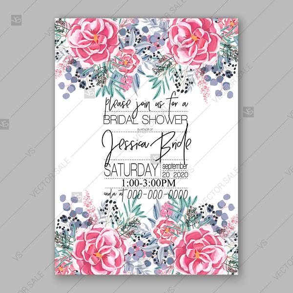 Wedding - Ranunculus pink watercolor wedding invitation vector template anniversary invitation