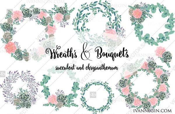 Wedding - 13 Succulents peony png vector wreath clipart 4 card