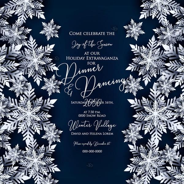 christmas party invitation paper cut origami snowflake on navy blue