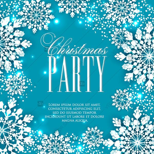 winter paper cut snowflakes background christmas party invitation