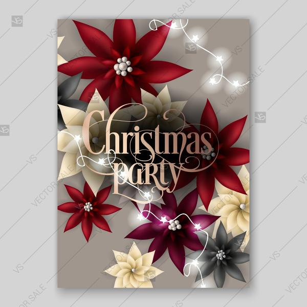 Christmas Party Invitation With Big Paper Vector Origami Flowers Red