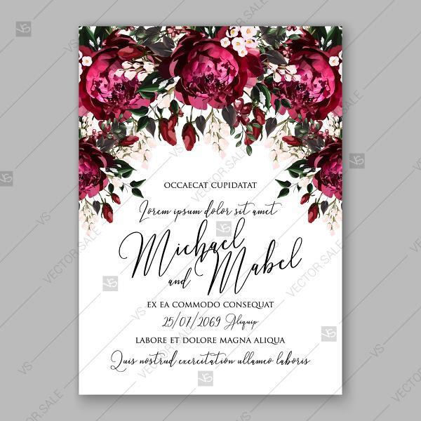Burgundy Dark Red Peony Wedding Invitation Watercolor Vector