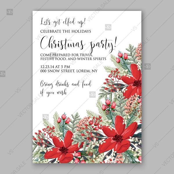 Wedding - Poinsettia vector background Christmas Party invitation winter flower fir branch summer