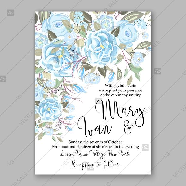 Wedding - Wedding invitation blue ranunculus peony brier rose vector floral background summer