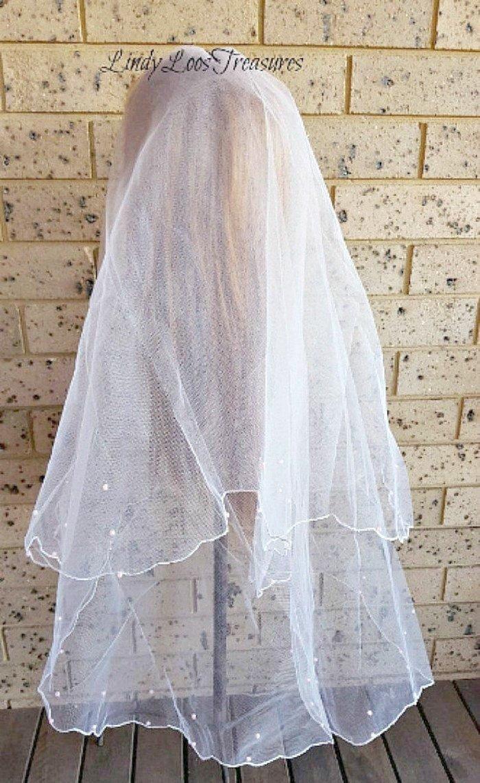 Hochzeit - Stunning Sparkle Edge Veil, White Veil, Ivory Veil, Wedding Veil, Bridal Veil, Lace Trim Veil,Fingertip Veil,Crystal Veil,Veil,Sparkle Veil