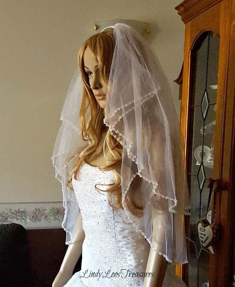 Mariage - Stunning Double Layer Fingertip Length Veil with Genuine Hand Sewn Swarovski Crystals Edging, White Veil, Wedding Veil, Veil with Crystals