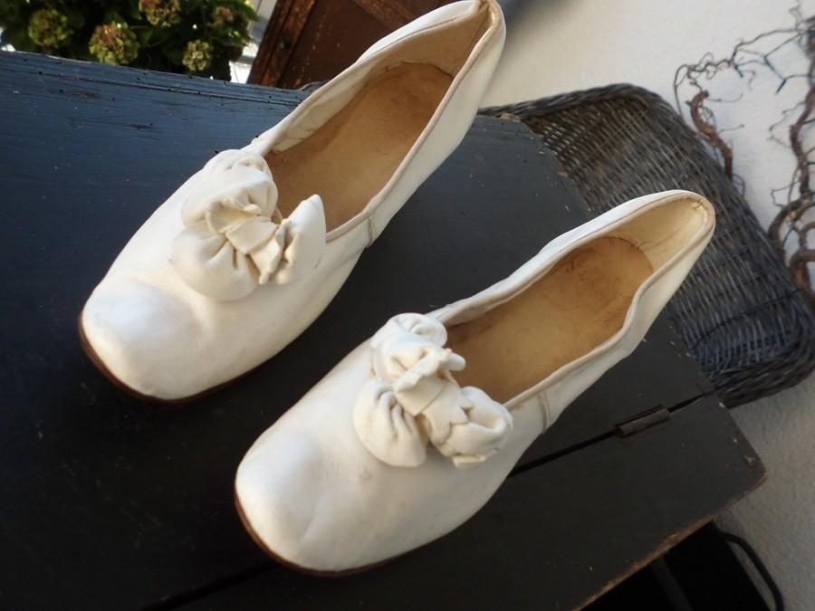 Wedding - Edwardian wedding shoes leather white white