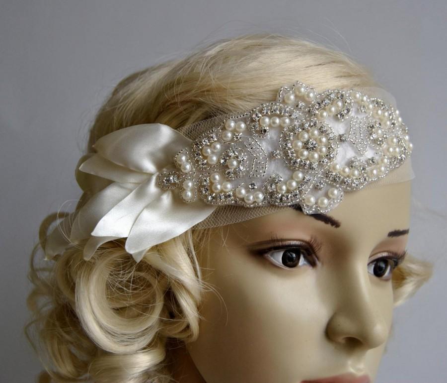Mariage - Petal Bandeau bridal headband, The Great Gatsby Headband, 1920s Headpiece, Flapper 1920's,Ivory petal rhinestone crystal headband,