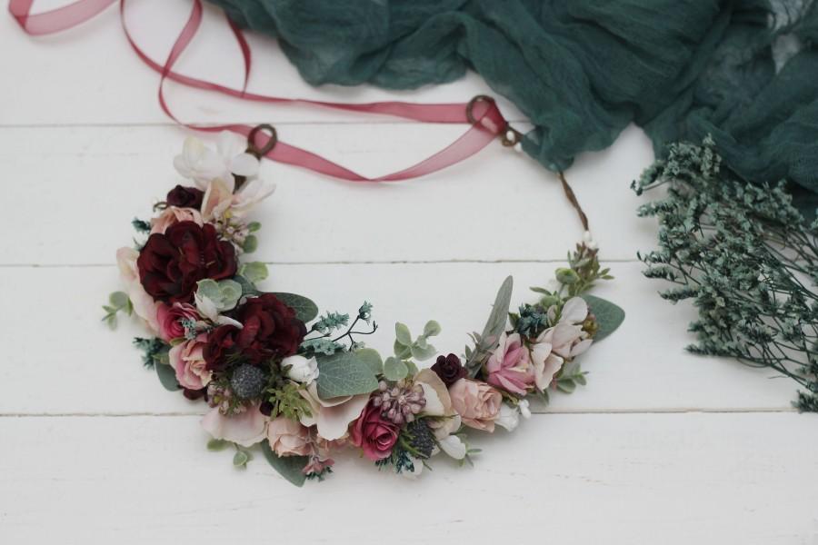 Mariage - Burgundy blush pink flower crown Deep red Eucalyptus floral headband Bridal hair wreath Wedding flower halo Maternity crown Bridesmaid crown