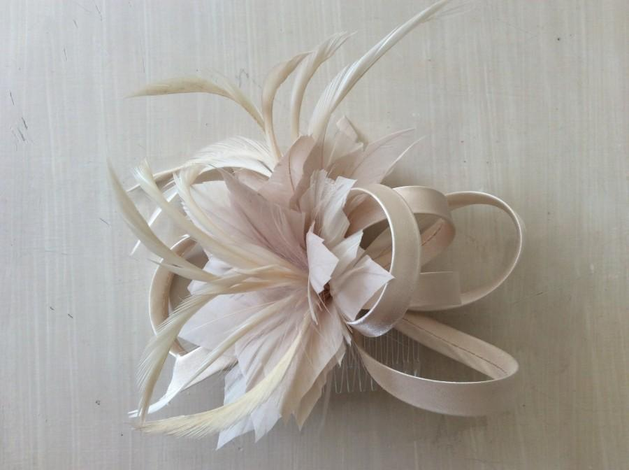 Mariage - Cream, champagne, beige, nude, neutral, Fascinator, hat, Fascinator hat, wedding, races, ascot, derby, hair accessory, cream, ivory, pearl