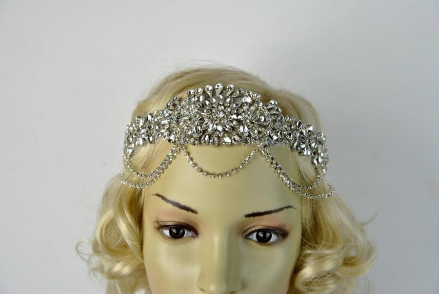 Mariage - Glamour Rhinestone flapper Gatsby Headband, Chain 1920s Wedding Crystal Headband Headpiece, Bridal Headpiece, 1920s Flapper headband