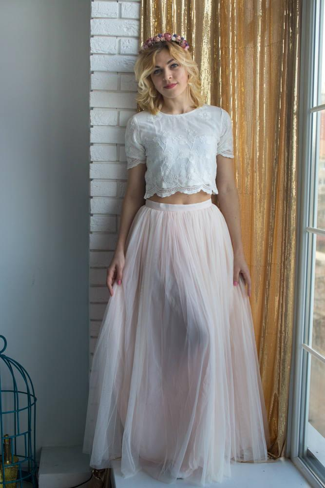 d618aa64bb Bridesmaids Tulle Skirt Top set, Long Tulle Skirt, Lace Crop Top, Bridal  Party skirts, Floor length skirt, Blush skirt, Bridesmaids outfits