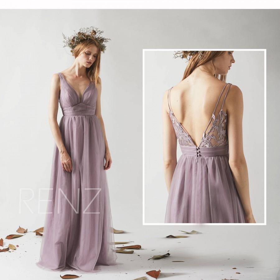 Mariage - Bridesmaid Dress Dark Mauve Tulle Dress,Wedding Dress,Ruched V Neck Evening Dress,Illusion V Back Maxi Dress,Sleeveless Party Dress(HS503)