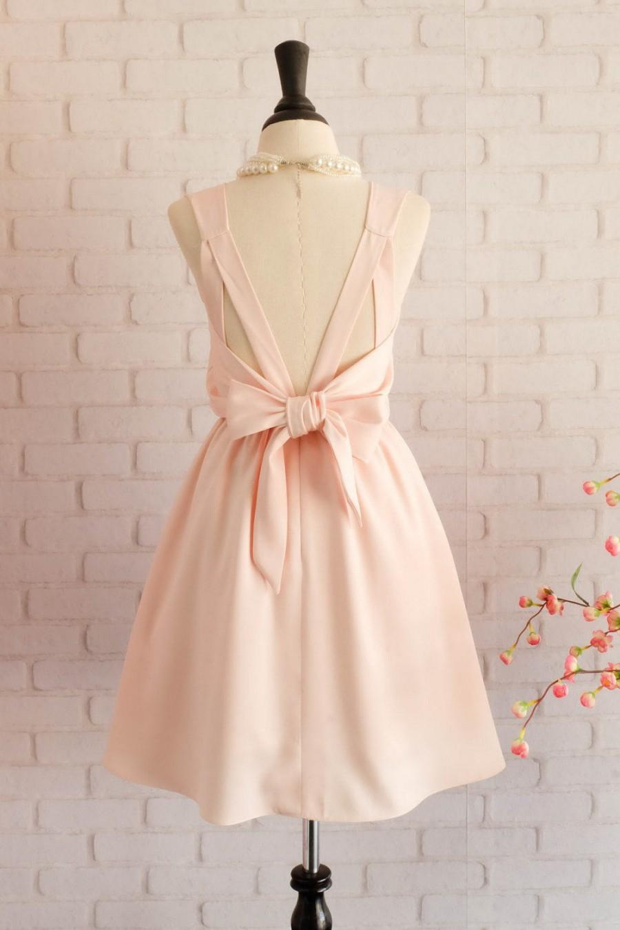 Mariage - Blush pink Dress Pink Bridesmaid dress Wedding Prom dress Cocktail Party dress Evening dress Backless bow dress