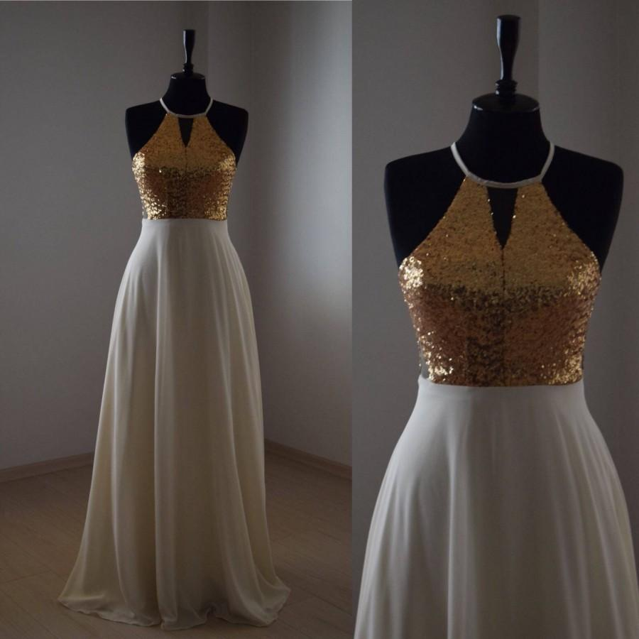 Mariage - Charming Chiffon With Top Gold Sequin Bridesmaid Dress, Handmade Gold Sleeveless Full Length Sequin Evening Prom Dress, Wedding Party Dress