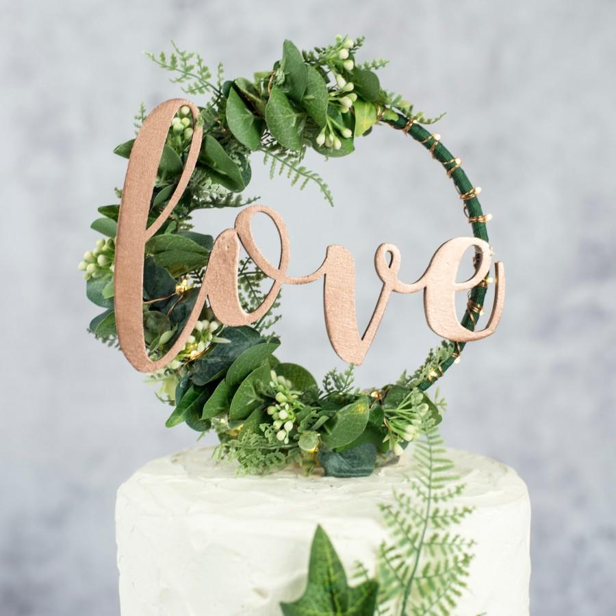 Mariage - Custom Wedding Cake Topper - Hoop Wreath - rustic wedding hoop - boho cake topper - floral hoop wreath
