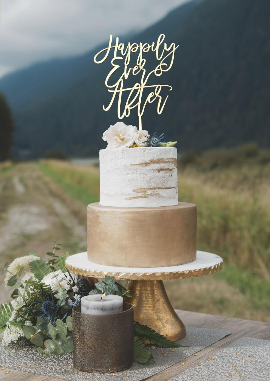 Wedding - Happily Ever After Cake Topper, Wooden wedding cake topper, Modern cake topper, Custom cake topper