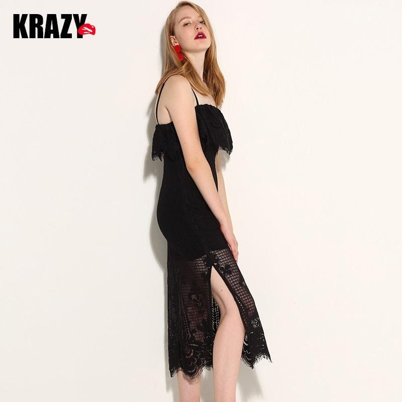 Свадьба - Attractive Mermaid Spagetti Strap Fabulous Frilled Split Lace Formal Wear Dress - Bonny YZOZO Boutique Store
