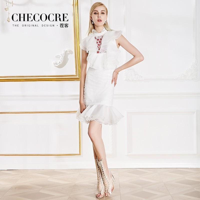Wedding - Vogue Embroidery Beading Sheath Mermaid High Neck Organza Frilled Dress - Bonny YZOZO Boutique Store