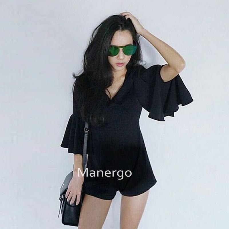 Hochzeit - Thailand new sweet High waist slim fit V-neck Flare Sleeves jumpsuit - Bonny YZOZO Boutique Store