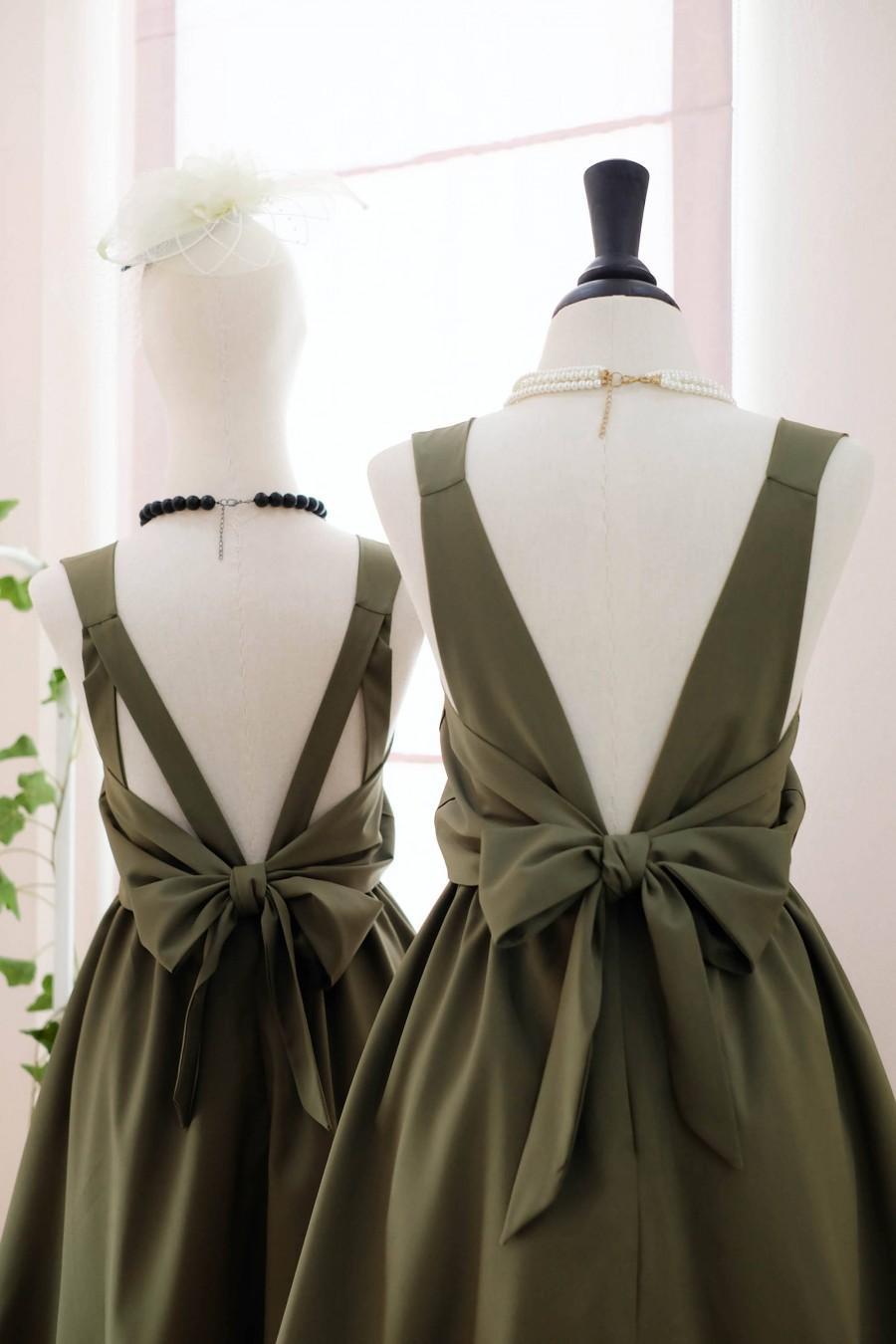 زفاف - Olive Green dress Dark green Bridesmaid dress Wedding Prom dress Cocktail Party dress Evening dress Backless bow dress