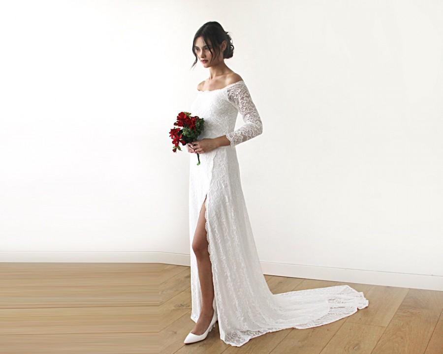 Ivory Wedding Dress Wedding Dress With A Slit Train Off