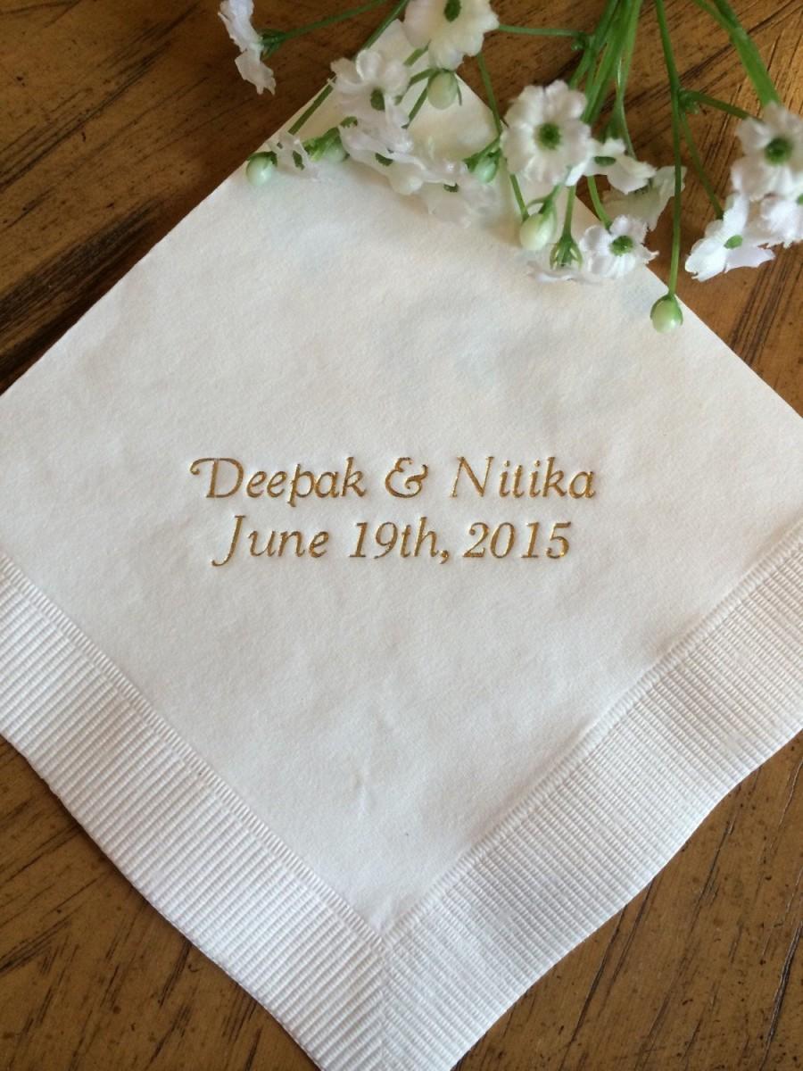 Свадьба - 50 Personalized Napkins Personalized Napkins Wedding Personalized Cocktail Beverage Paper Anniversary Party Monogram Custom Luncheon Avail!