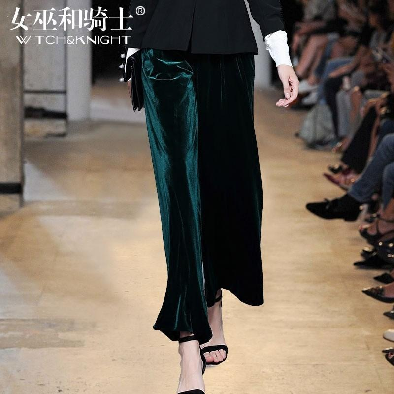 Mariage - Oversized Vintage Slimming High Waisted Casual Velvet Wide Leg Pant Long Trouser - Bonny YZOZO Boutique Store