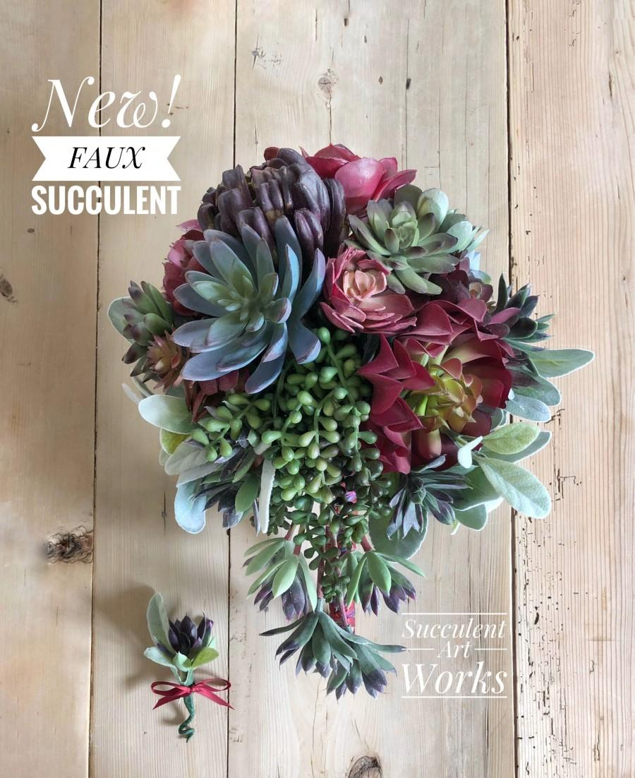 New Faux Succulent Wedding Bouquet Boutonierre Corsage Customized Faux Wedding Succulents Bridal Bouquets Wedding Faux Succulents 2887566 Weddbook