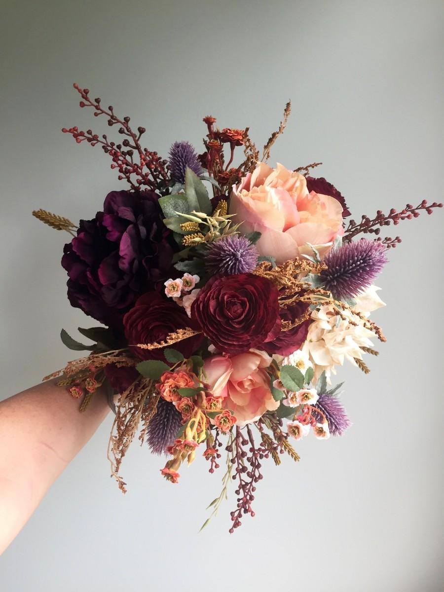 Burgundy Silk Flowers Bridal Bouquet Off 73 Buy