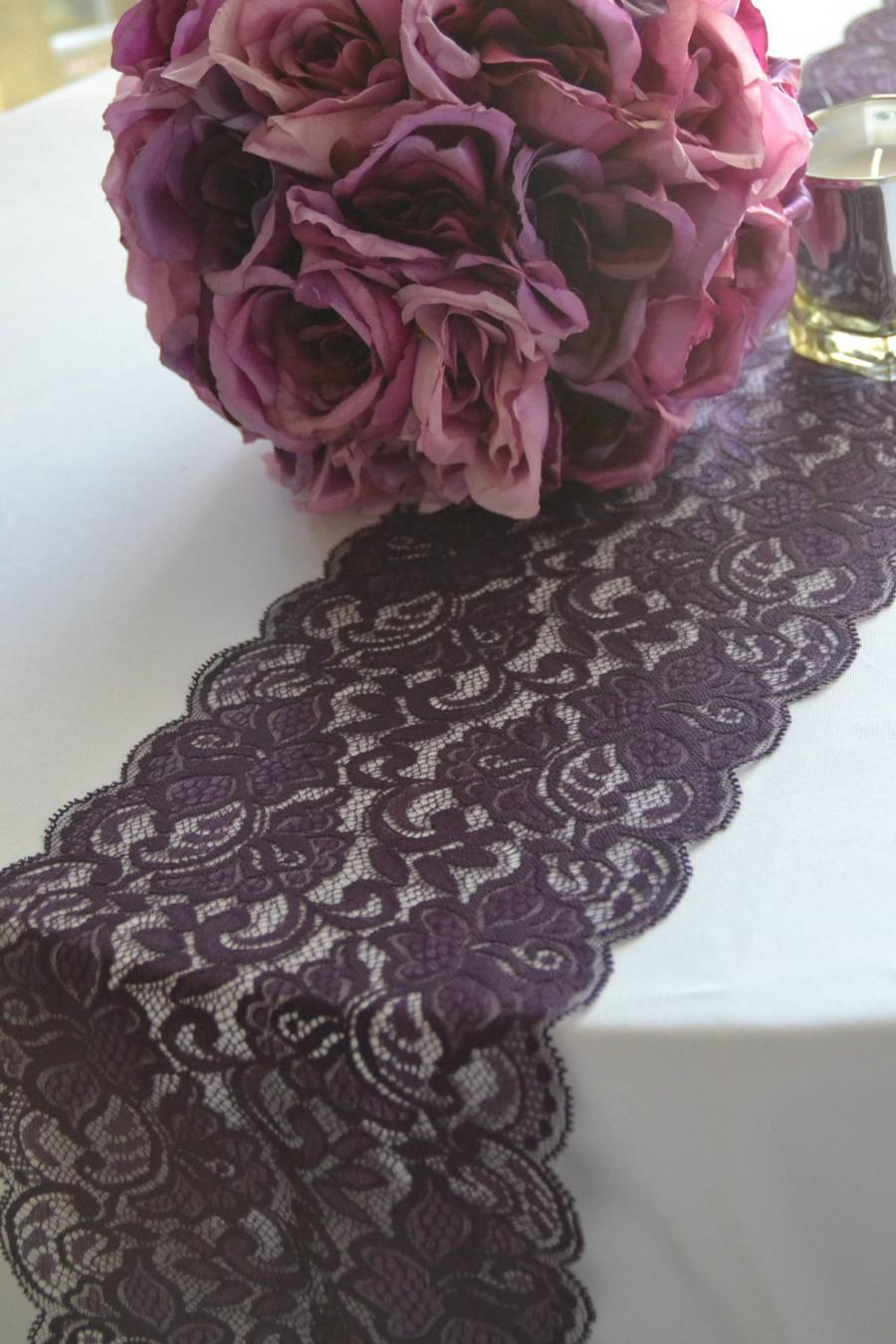 Plum Lace Table Runner 8 Wide Choose Your Length 3ft 16 Ft