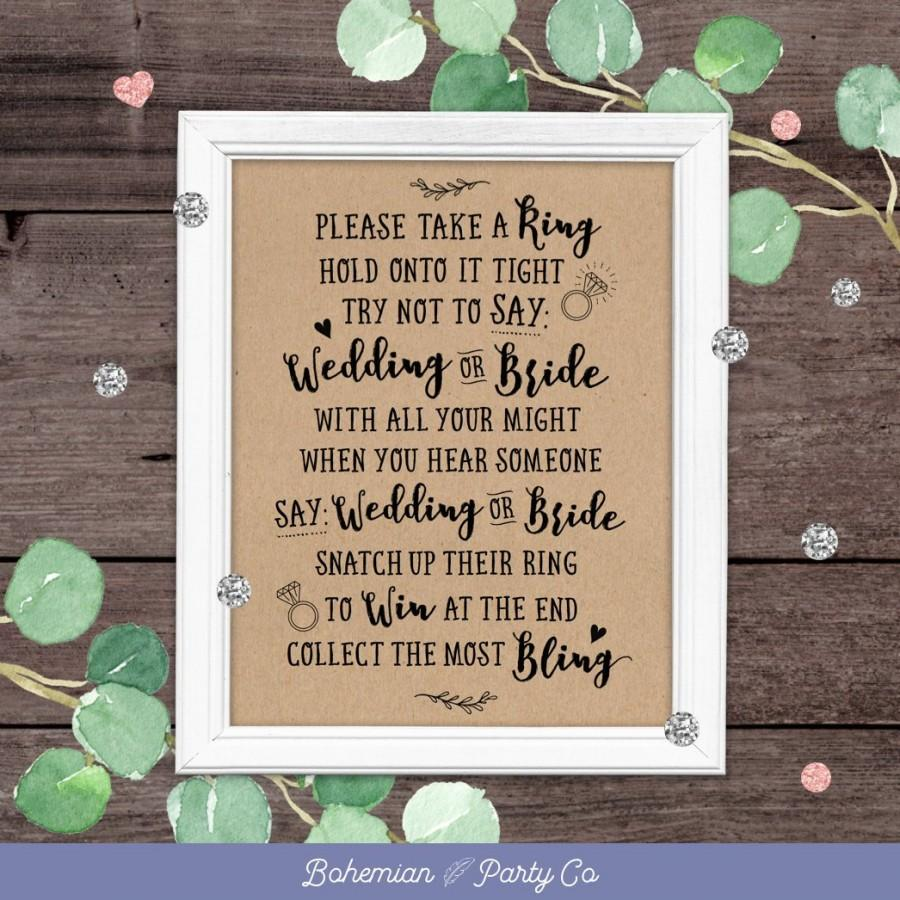 dont say bride bridal shower game printable rustic games bridal shower games activities party games rustic kraft instant download