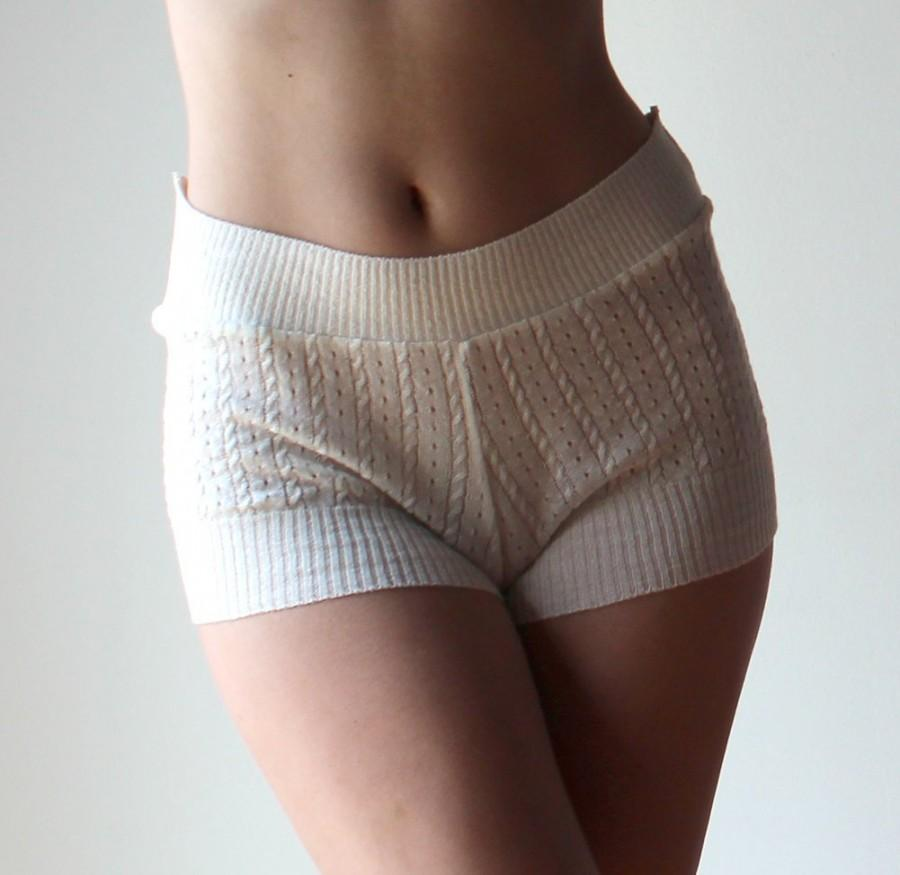 Hochzeit - silk cashmere boxer shorts in pointelle lace knit - made to order