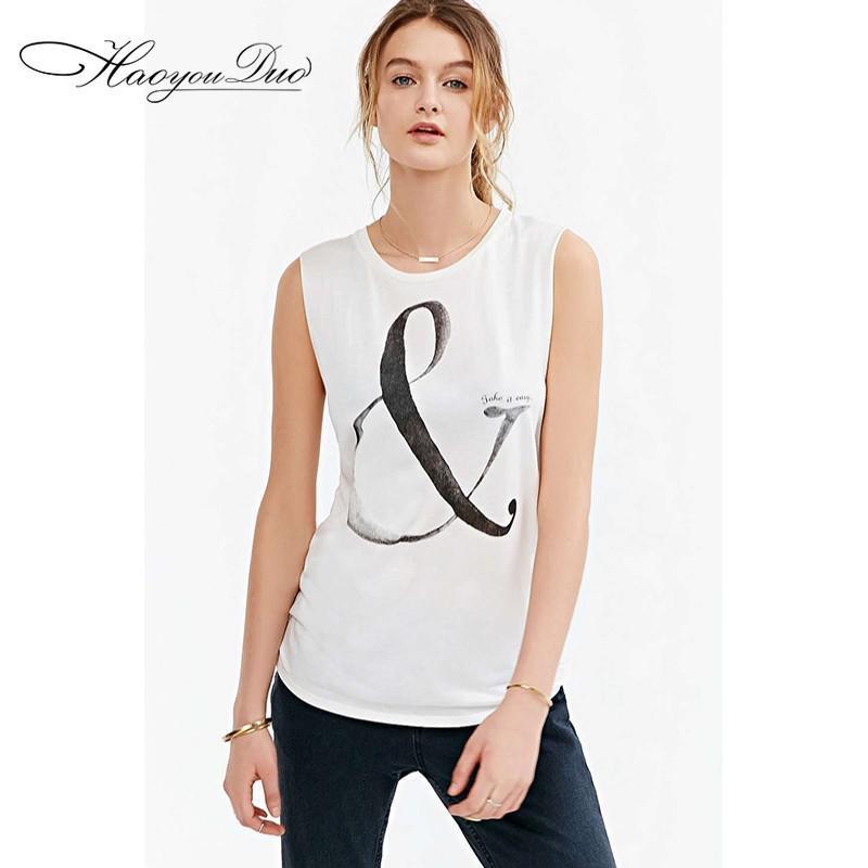 زفاف - Printed Scoop Neck Sleeveless Alphabet White Summer Edgy T-shirt - Bonny YZOZO Boutique Store