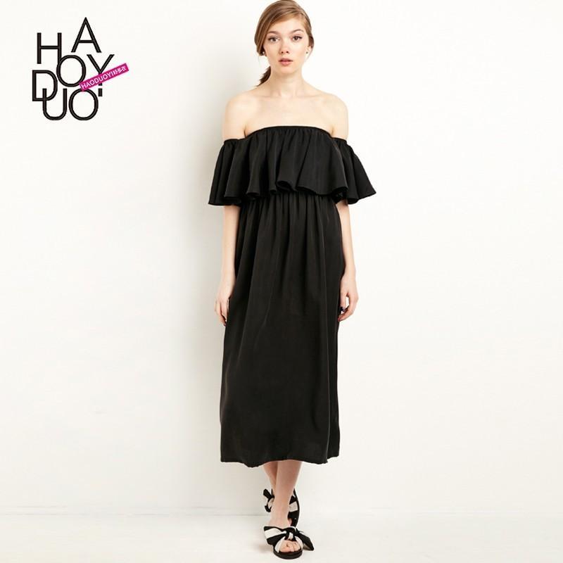 Hochzeit - Sexy neck strapless summer 2017 new wave edge stitching high waist dress - Bonny YZOZO Boutique Store