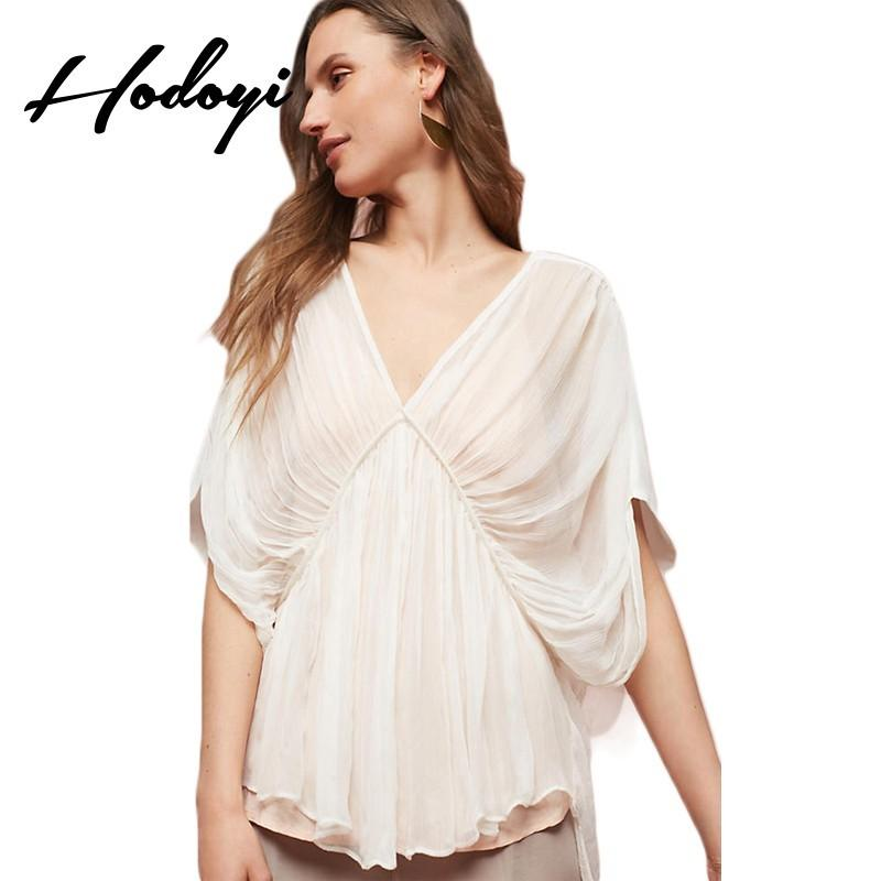 Mariage - Must-have Vogue Sexy Seen Through Ruffle V-neck 1/2 Sleeves One Color Summer Blouse - Bonny YZOZO Boutique Store