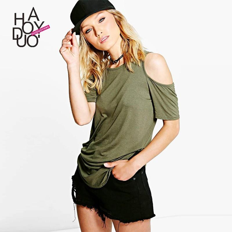 Wedding - Must-have Oversized Vogue Simple Off-the-Shoulder Arm Green Summer Casual T-shirt - Bonny YZOZO Boutique Store