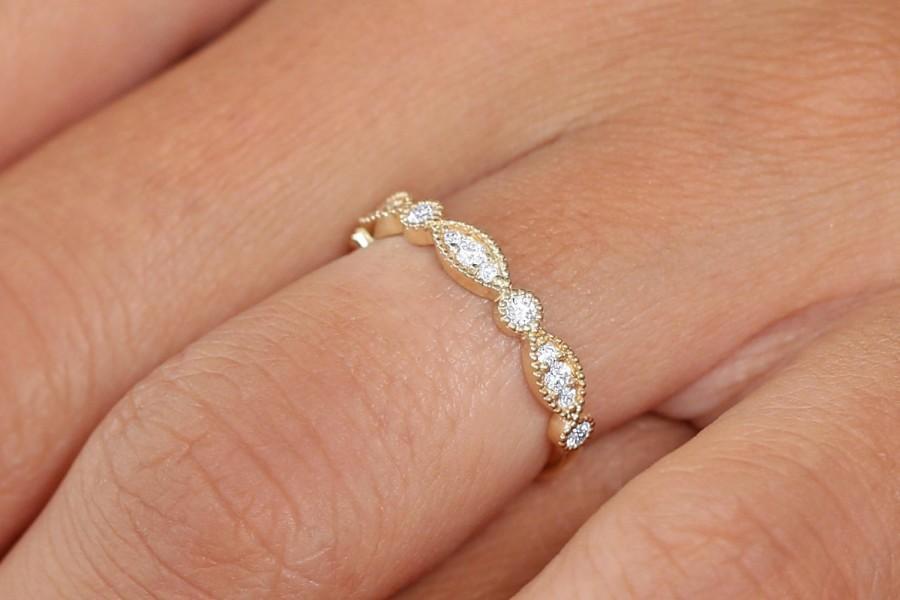 زفاف - Vintage Wedding Band / 14k Solid Gold Art Deco Diamond Wedding Ring / Marquise Matching Band / Anniversary Ring / Stackable Diamond Ring