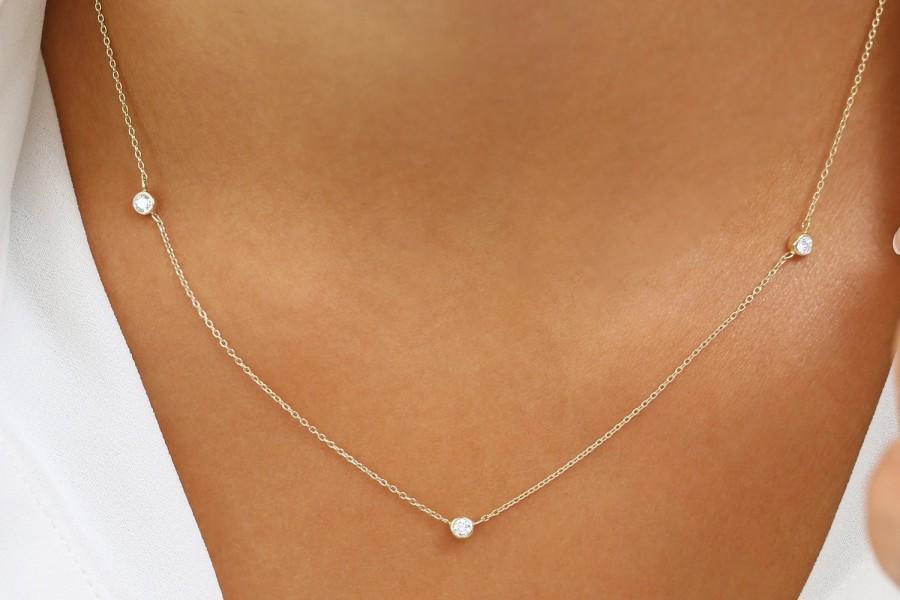 Hochzeit - Diamond Necklace / 14k Gold 3 Stone Bezel Setting Diamond Necklace / Diamond Solitaire Necklace / Diamond by the Yard Necklace for Wedding