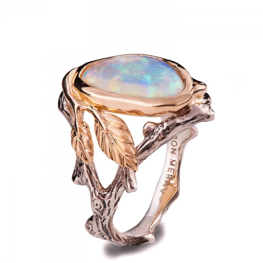 Hochzeit - Twig and Leaf Engagement Ring, Two Tone Gold and Opal ring, Unique Engagement ring, Opal engagement ring, Opal Ring, leaf opal ring, 8