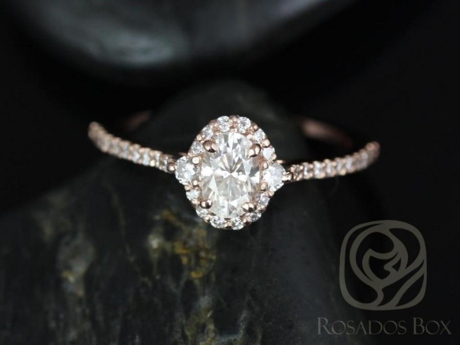 Hochzeit - Rosados Box Bridgette 6x4mm 14kt Rose Gold Oval F1- Moissanite and Diamonds Halo Engagement Ring