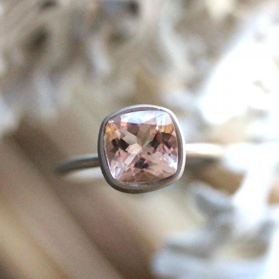Hochzeit - Genuine Morganite 14K Gold Ring, Gemstone Ring, Cushion Shape Ring, Eco Friendly, Engagement Ring, Recycled Ring - Custom Made For You