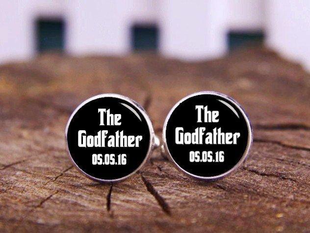 Hochzeit - Godfather Cuff Links, Baptism Cufflinks, Custom Name Cuff Links, Grandfather Cufflinks, Personalized gift, Wedding Cufflinks, Film Cufflinks