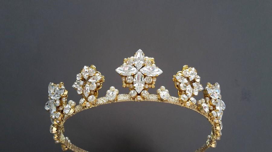 Mariage - Wedding crystal tiara Bridal crown Swarovski crystal crown Wedding headband Star crown Bridal headband Wedding gold crown Bridal tiara