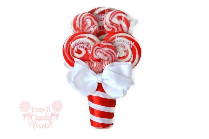 Mariage - Small Red Lollipop Bouquet, Red Candy Bouquet, December Wedding, Christmas Wedding Ideas, Valentines Wedding Ideas, Valentines Bouquet